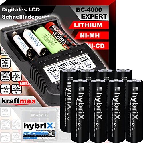 kraftmax Original BC-4000 EXPERT Ladegerät + 8 hybriX Pro Black Mignon AA Akkus - Set mit Ladestation und Akku Batterien Premium Akkubox