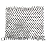 Nrpfell Ghisa Cleaner - Acciaio Inossidabile 316 Chainmail Scrubber, Pollice 8 x 6