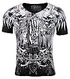 Kingz Herren T-Shirt - Skull - Pray - mit Strass Steinen - schwarz/Silber (S)