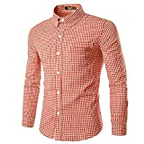 Nutexrol Trachten Herren Hemd Trachtenhemd Langarmhemd Freizeithemd Baumwolle - für Oktoberfest, Business, Freizeit Orange M