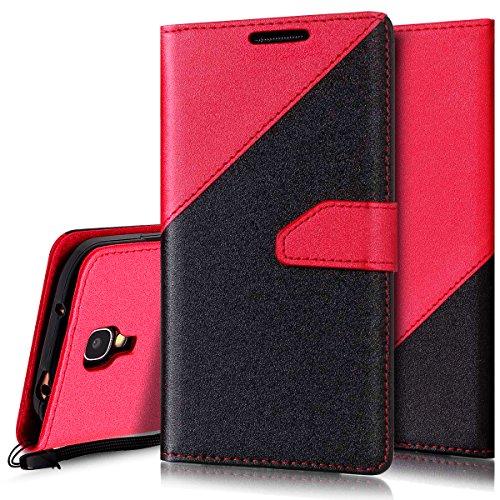 Ukayfe Compatibile con Galaxy S4 Cover I9505 Custodia,Stitching Colore Flip Case Cover per Galaxy S4 I9505 Custodia PU Leather Shock-Absorption Protettiva Portafoglio Cover-Nero + Rosso