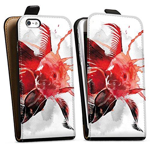 Apple iPhone X Silikon Hülle Case Schutzhülle Fisch Kunst Goldfisch Downflip Tasche schwarz