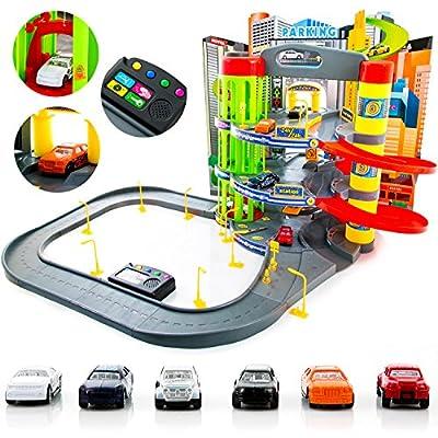 Parkhaus Garage Parkgarage KP9819 NEU Auto Autogarage XXL Spielzeugauto - Geschenk 3 Ebenen + Spielstraße von Kinderplay