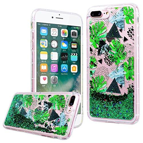 """WE LOVE CASE iPhone 7 Plus Hülle Schale Glitzern Transparent Flüssig Quicksand Diamant Liebe Stern iPhone 7 Plus 5,5"""" Hülle Fuchsie Schutzhülle Handyhülle Weich Silikon Handytasche Ultra Dünn Flexibel dark green"""