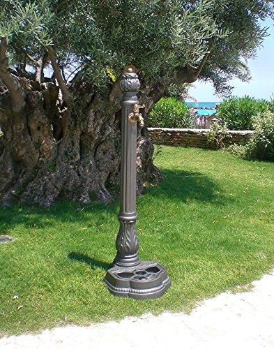 Fontana in ghisa a colonna modello iside per casa giardino arredo urbano completa di rubinetto in ottone brunito