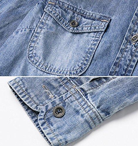 ZhiYuanAN Donna Camicia In Denim Moda Maniche Lunghe Jeans Camicette Casual Sciolto Selvagge Cowboy Giubbotto Tops Blu