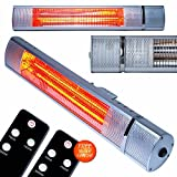 MYLEK 2kW Electric Patio Heater for Outdoor / Garden - IP65 Rated Waterproof & Rustproof - Wall Mountable with Remote Control / 3 Heat Settings (750W, 1.5kW and 2kW) Advanced Infrared Golden Tube Technology IP65 Rated (2kw with Remote Control)