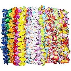 Kurtzy 36 Stück Tropische Hawaiianische Gekräuselte Luau Blumen Lei Halsketten - Hawaii-Kette Blumenkette - Bunte Hawaii Party Dekorationen in 6 Verschiedenen Designs - Hawaiian Blumen-Girlanden für S
