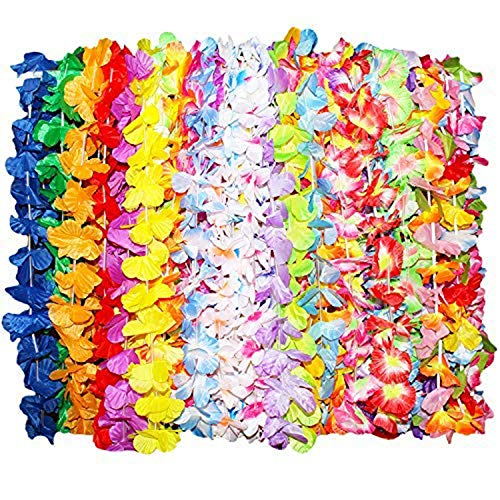Kurtzy 36 Stück Tropische Hawaiianische Gekräuselte Luau Blumen Lei Halsketten - Hawaii-Kette Blumenkette - Bunte Hawaii Party Dekorationen in 6 Verschiedenen Designs - Hawaiian Blumen-Girlanden für S