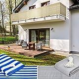 Lumaland Balkonsichtschutz 0,9 x 5 Meter, inklusive Befestigungsseil, 100% HDPE mit Stabilisator für UV Schutz, Sand