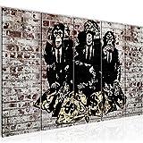 Bilder Banksy Street Art Affen Geldsäcke Wandbild 200 x 80 cm - 5 Teilig Vlies - Leinwand Bild XXL Format Wandbilder Wohnzimmer Wohnung Deko Kunstdrucke Grau -100% MADE IN GERMANY - Fertig zum Aufhängen 303455c