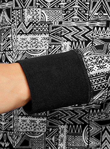 oodji Ultra Damen Bedrucktes Sweatshirt Basic Schwarz (2910G)