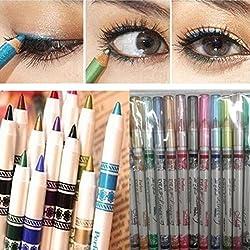 Delineador de ojos o delineador de labios,Internet 12 colores de sombra de ojos Glitter Mujer Conjuntos cosméticos