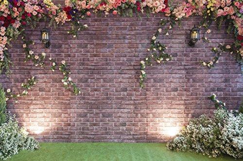WaW 7x5ft(220x150cm) Lila Ziegel Fotografie Hintergrund Blumewand Fotohintergründe Frühling Kulissen Fur Hochzeit