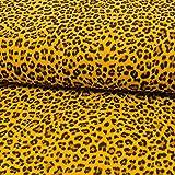 Baumwolle Double Gauze Animalprint senfgelb Modestoffe -