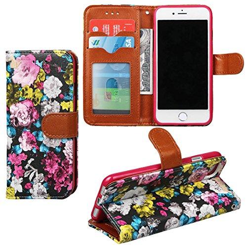 """xhorizon FM8 Blumenmuster Leder Brieftasche Fall Mit Perfektion Prime Design für iPhone 7 (4.7"""") Rose"""