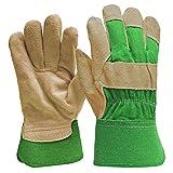 DIGZ Wildleder Leder Palm Garten Handschuhe mit Sicherheit Manschette, Klein
