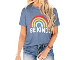 Blooming Jelly Womens T Shirts Round Neck Short Sleeve Summer Tops Cute Rainbow Graphic T Shirt