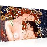 Bild Gustav Klimt - Mutter und Kind Wandbild Vlies - Leinwand Bilder XXL Format Wandbilder Wohnzimmer Wohnung Deko Kunstdrucke Braun 1 Teilig - MADE IN GERMANY - Fertig zum Aufhängen 700214a