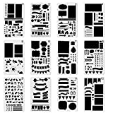Ailiebhaus 12pcs Bullet Journal Stencil Set for Journaling/Notebook/Drawing Graffiti/Scrapbook DIY Template Planner Stencils and Craft Projects