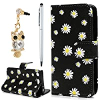 Sony Xperia XZ1 Compact Case, YOKIRIN PU Leather Magnetic Adsorption Folio Inner Soft TPU Case with Card Slots Stand Flip Wallet Case Cover for Sony Xperia XZ1 Compact, Daisy