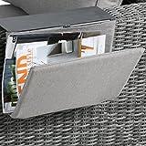 greemotion Zeitungshalter Bari mit Ablagefläche grau, Ablage für Zeitschriften und Gläser, Sofatablett mit Zeitungshalter für Loungemöbel Bari, langlebig und wiiterungsbeständig, ideal für den Außenbereich