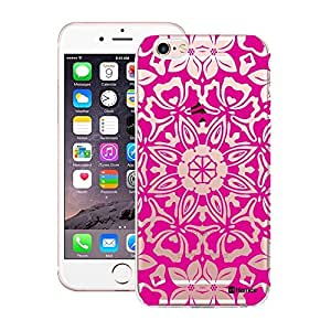 Customizable Hamee Original Designer Cover Thin Fit Crystal Clear Plastic Hard Back Case for Apple iPhone 7 (Pink Clear Floral Kaleidoscope)