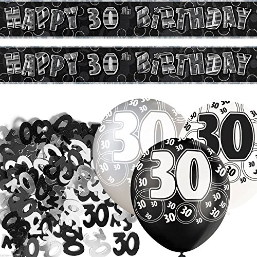 Black Silver Glitz 30th Birthday Banner Party Decoration Pack Kit