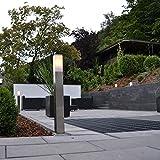 QAZQA Design/Modern Außenleuchte/Wegeleuchte/Gartenlampe/Gartenleuchte/Standleuchte Malios Pfahl 80 Stahl/Silber/nickel matt/Außenbeleuchtung Kunststoff/Edelstahl Rechteckig/Länglich