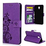 Mavis's Diary OnePlus 3 Case / OnePlus 3T Case - Retro PU Leather Case Wallet Flip Cover Anti-slip Stand Function Magnetic Closure ID / Card Slots Butterfly Vines Embossed Bumper Protective Case with Wrist Strap - Purple