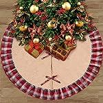 Aparty4u plaid Albero di Natale gonna 122cm, nero e rosso plaid Ruffle Edge Border Albero di Natale gonna base albero per Xmas party vacanza decorazioni natalizie