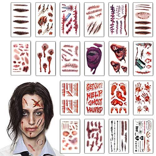 Heekpek Halloween Zombie Cicatrices Tatuajes Pegatinas