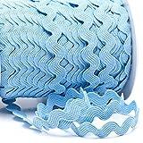 Zackenlitze, Uni 12 mm / 12 mm, col.441, hellblau, 2m, 100% Polyester
