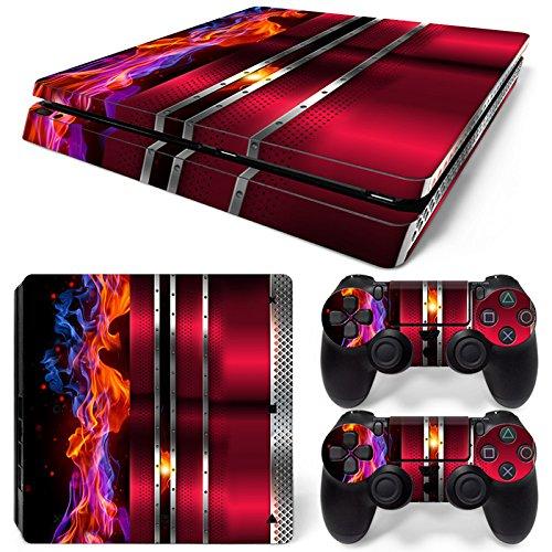 46 North Design Ps4 Slim Playstation 4 Slim Pegatinas De La Consola Red Cherry Fire Metal + 2 Pegatinas Del Controlador 617RphRC 2B1L