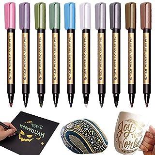 Ferryman Metallic Marker Stifte, für die Kartenherstellung, Verwendung auf jeder Oberfläche-Papier, Rock Malerei, Glas, Kunststoff, Keramik, Holz, DIY Fotoalbum (10 Farben)