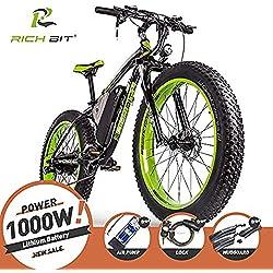 RICH BIT Bici elettriche da uomo Cruiser fat bicicletta TP012 1000 W * 48 V * 17AH fat tire 66 x 10,2 cm 7 marce Shimano Dearilleur Power ciclismo (Nero-Verde) …
