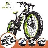 RICH BIT Bici elettriche da uomo Cruiser fat bicicletta TP012 1000 W * 48 V * 17AH fat tire 66 x 10,2 cm 7 marce Shimano Dearilleur Power ciclismo (Nero-Verde) ...