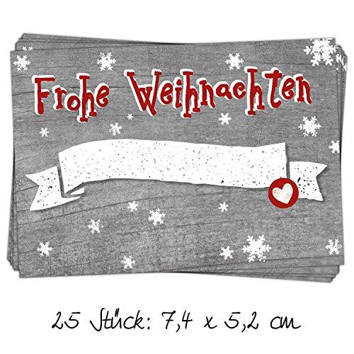 """25 Stück Aufkleber Etikett """"Frohe Weihnachten"""" grau und rot mit Schneeflocken, beschreibbar; 7,4 x 5,2 cm; zum Verzieren und Beschriften von Weihnachts-Geschenken"""