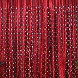 quanjucheer Fashion Tüll Fenster Vorhang für Wohnzimmer Stickerei Sheer Dekoration transluzent Belüftung, Polyester, rot, 3m by 2.7m