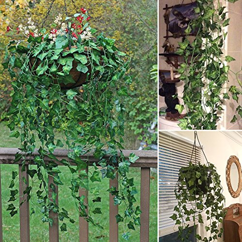 RERXN 4 Bunchs Artificial Ivy Vine Greenery Fake Hanging Plant Leaves for Indoor Outdoor Decor Epipremnum aureum Leaves