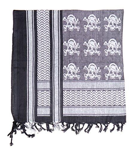 PLO Kopftuch mit Fransen Mundschutz für Motorradfahrer Shemagh Halstuch Baumwolle 115 x 110 cm in verschiednen Farben (Schwarz/Weiß mit ()