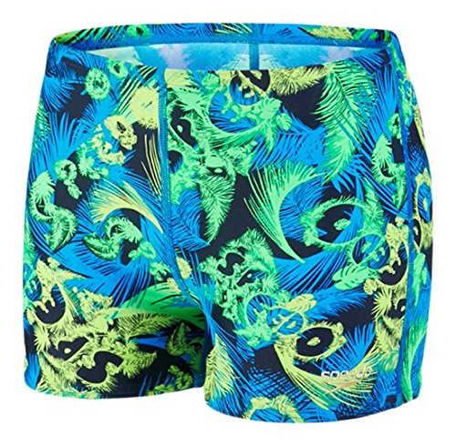 Speedo Jungen Beachpunch Allover Aquashorts Badehosen, Speedo Navy/Neon Blue, 164 (Boys Shorts Blue Navy)