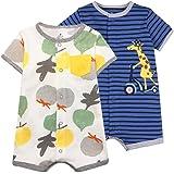 Bebé Niños Monos 2 Piezas - Verano Pijama de Algodón Mameluco de Manga Corta Animales Pelele para Recién nacido 3-6 Meses