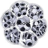 eBoot 179 Pièces Yeux Mobiles en Plastique Auto Adhésif Ronde Noir et Blanc 8 mm/ 10 mm/ 12 mm/ 15 mm/ 18 mm/ 10 x 8 mm/ 10 x 12 mm pour les Accessoires de Jouet Artisanat