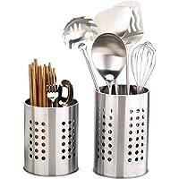 Lot de 2 supports pour ustensiles de cuisine en acier inoxydable et antirouille - Grand organisateur pour ustensiles de…