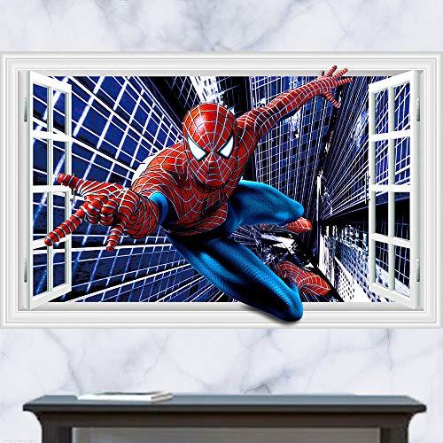 JUNMAONO Spiderman Wandaufkleber/Abnehmbare Wandbild Aufkleber/Wandgemälde/Wand Poster/Wandbild Aufkleber/Wandbilder/Wandtattoo/Pinupbild/Beschriftung/Pad einfügen/Tapete/Tapezieren/Tapeten/Wand Zeitung/Wandmalerei Haftnotiz/Fühlen Sie sich frei zu kleben/Instant Aufkleber/3D-Stereo-Wandaufkleber (-3)