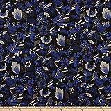 Kokka 0643753 Blue Bird Floral Canvas Black Fabric Stoff,