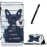 Slynmax Coque iPhone 8 Plus,iPhone 7 Plus de de Chien Luxe Peinture Etui Portefeuille en Cuir PU Porte- et Pliable Couvercle Rabattable de pour iPhone 7 Plus/8 Plus + 7 * Noir Stylo