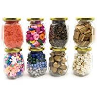 Satyam Kraft (Pack of 8) Glass Jar and Container(220 ml) with Rust Proof Air Tight Lid/Diwali Gift/Diwali Gifts for Family and Friends/Diwali Gift Items (Octagon jar 220 ML, 8)