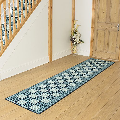 Chequer Blue - Long Hall & Stair Carpet Runner